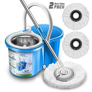 image of Aootek Upgraded Stainless Steel Deluxe 360 Spin Mop & Bucket Floor Cleaning System