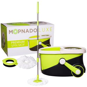 image of Mopnado Stainless Steel Deluxe Rolling Spin Mop with 2 Microfiber Mop Heads